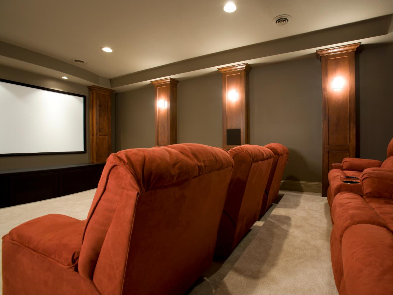 Contemporary Home Theater With Plush Stadium Seating