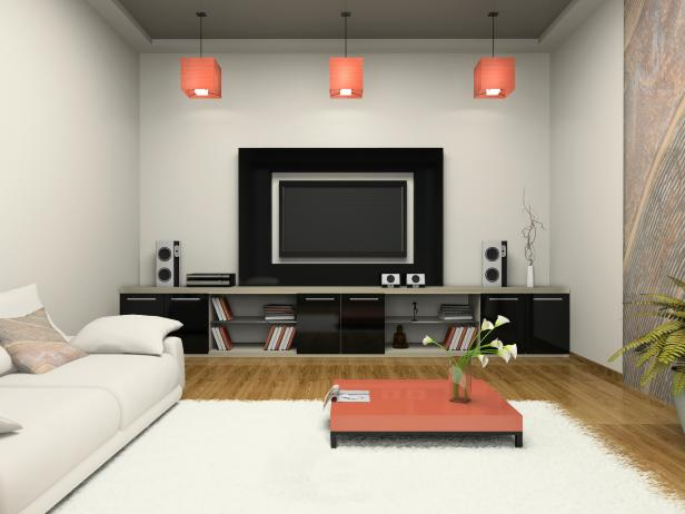 Modern Room with Home Theater 3D Rendering