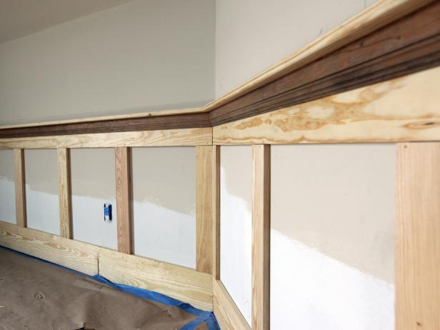 Continue setting stiles along the wall at the desired spacing until the Shaker-style wall covering is complete.