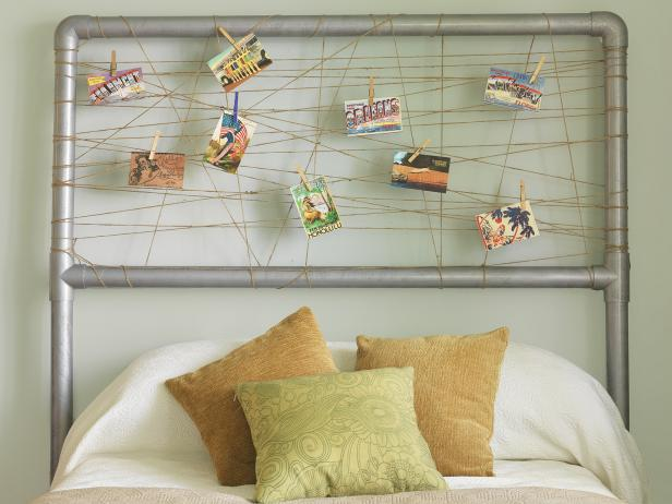 PVC Pipe Headboard with String and Postcards Attached