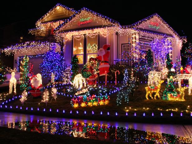 eye popping neon christmas light display - Classic Outdoor Christmas Decorations