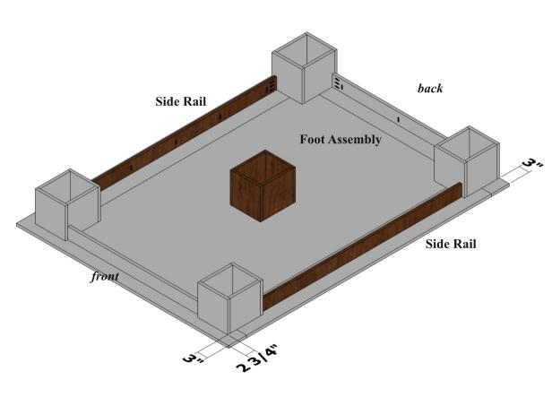Use the diagram to complete the platform bed assembly.
