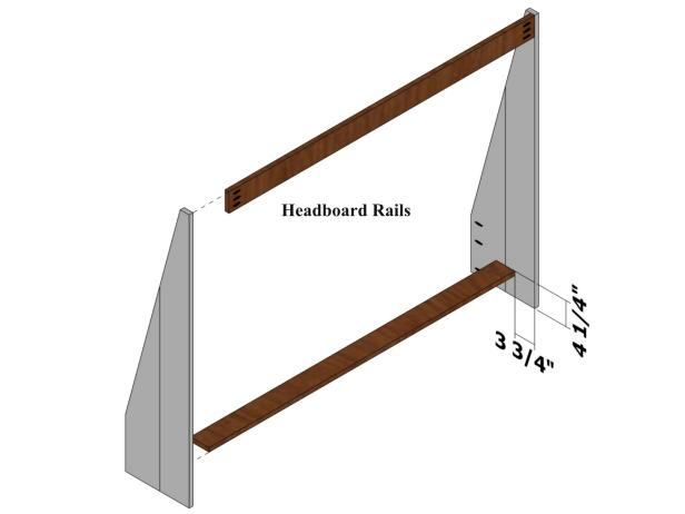 Drill three pocket holes on each end of one face of the headboard rails. Use the guide for positioning the headboard rails.
