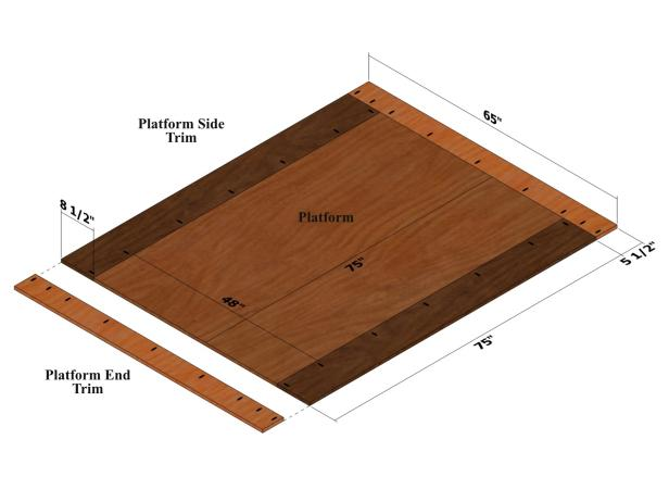Use diagram to attach the platform side trim to the platform and platform end trim using 1-1/4-inch pocket-hole screws only.