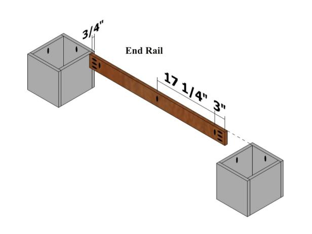 Position one end rail 3/4 inch from the narrow end and flush with the top (where the pocket holes are placed on the feet assembly) and the vertical pocket holes pointing in the same direction as the pocket holes on the feet assembly.