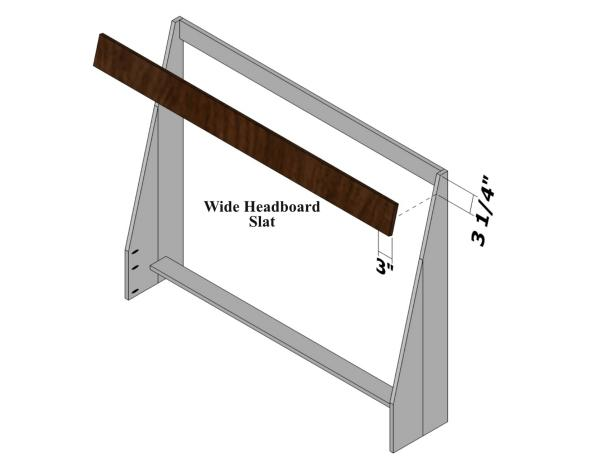Use the diagram as a guide for marking and positioning the first wide headboard slat.