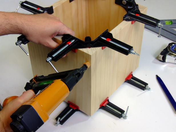 Use corner clamps to position four feet.