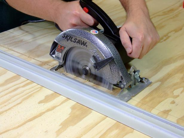 Cut the platform to length per the cut list using a circular saw with a straightedge guide. Double check the length of the platform, as you will need to match the length of the platform side trim to this measurement.
