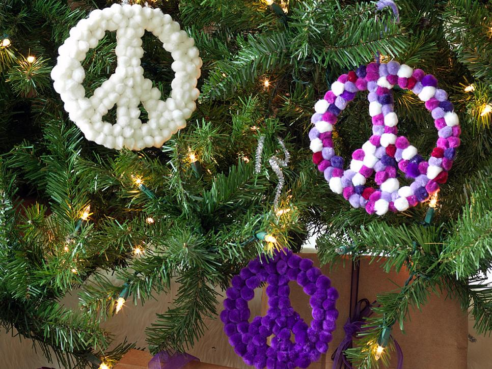 retro inspired purple and white christmas decorations