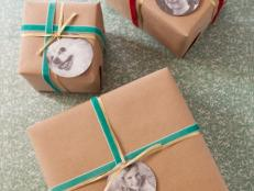 Instead of the usual gift tags, use photos to identify your gift recipients. Old childhood photos or silly pictures will make gift-giving much more fun.