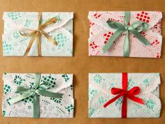 This holiday season make gift cards personal and beautiful by wrapping them in homemade envelopes.