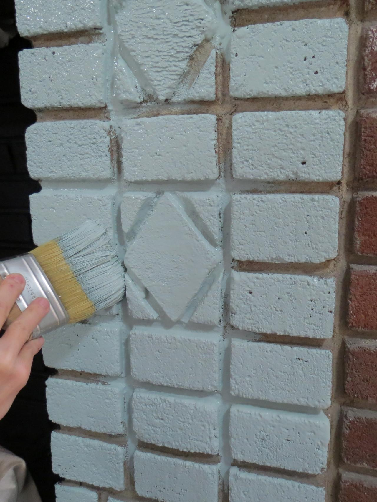 Painted brick fireplace makeover how tos diy for Bricks painting design