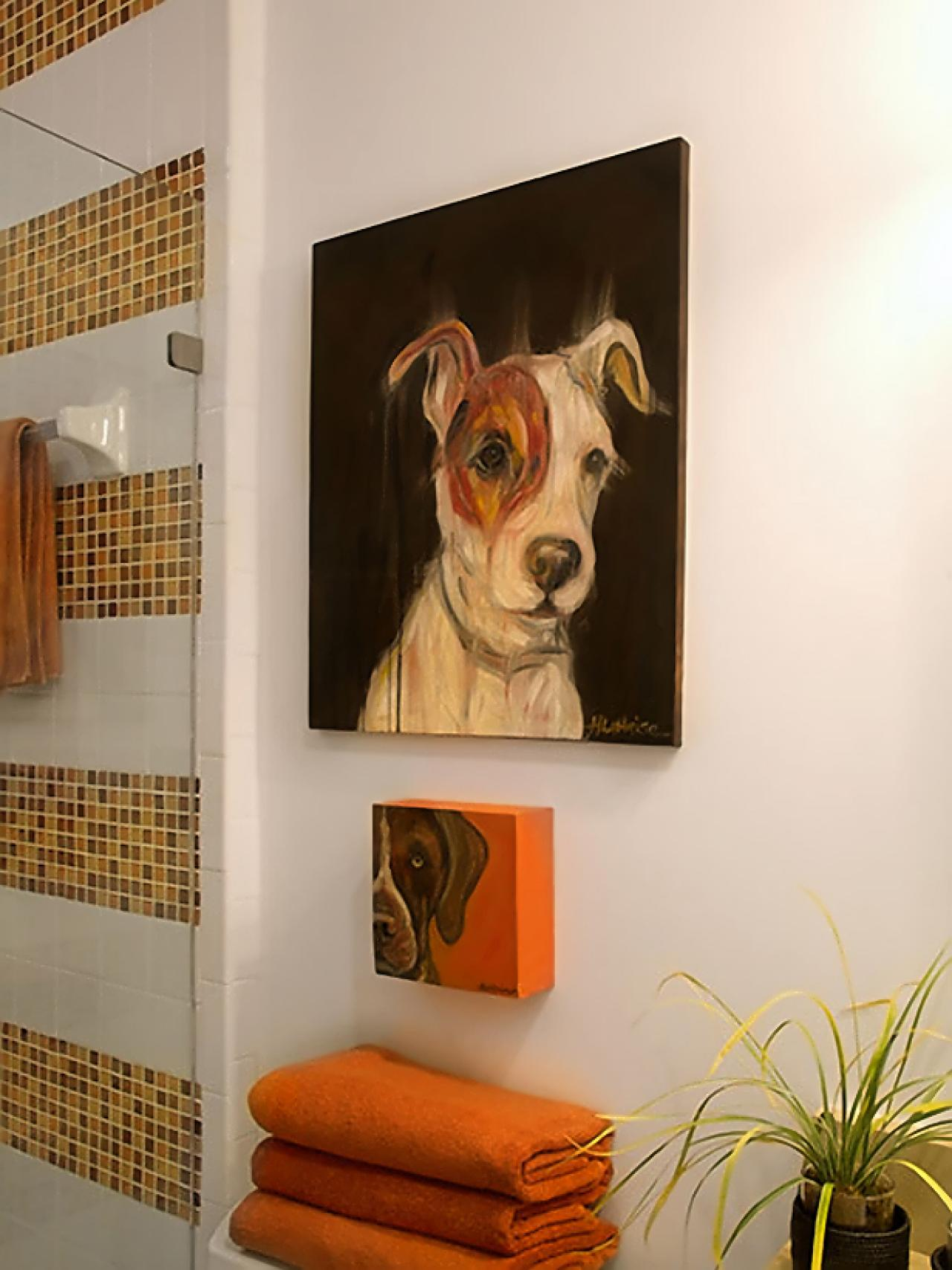 Diy dog painting in guest bath s3x4