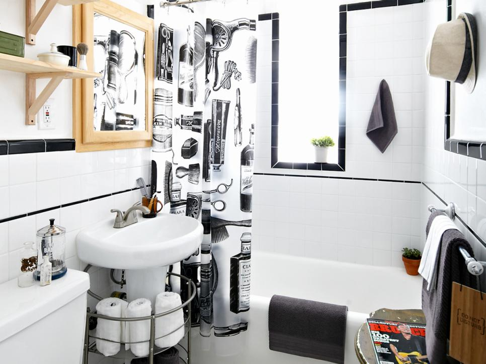 Teen boys 39 barbershop style bathroom diy for Teen bathroom pictures