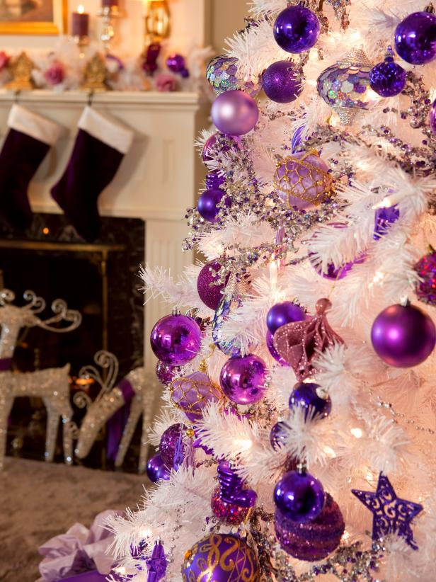 related to christmas decorating - Purple And Gold Christmas Tree Decorations