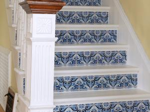 CI-Susan-Teare_White-and-blue-faux-tile-staircase2_s3x4