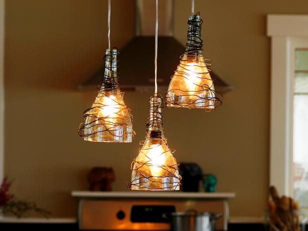 Upcycle Wine Bottle Into Pendant Light Fixtures How Tos