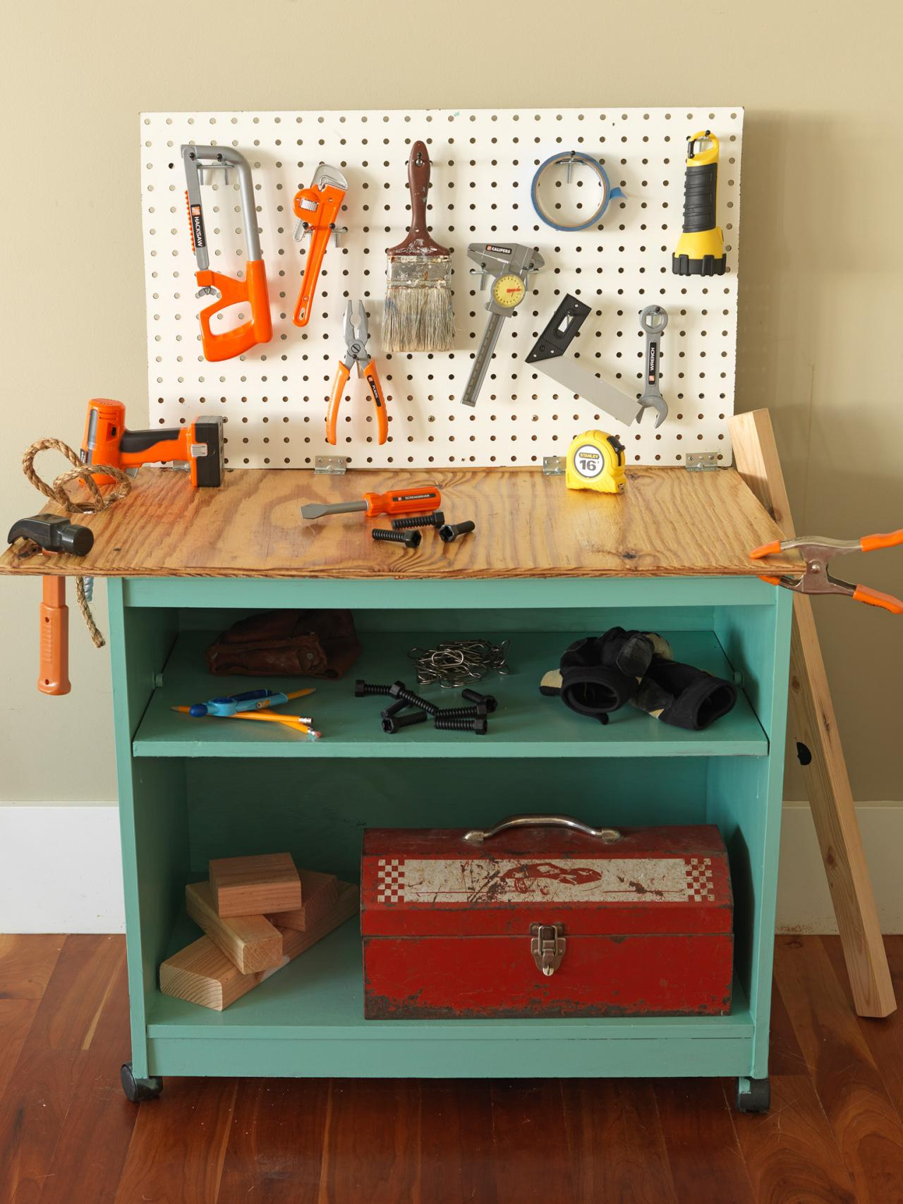 How To Turn Old Furniture Into A Kids Toy Workbench How