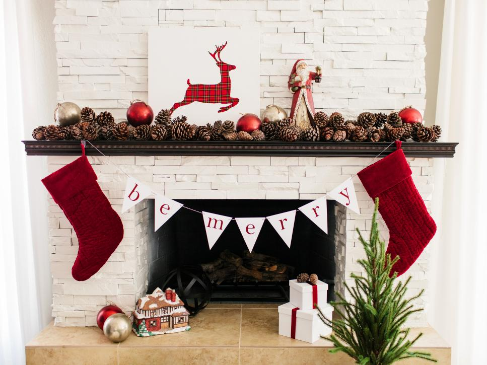 28 christmas mantel decorating ideas hgtv - Country Christmas Mantel Decorating Ideas