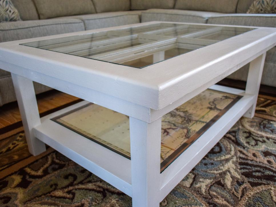 An Upcycled Door Becomes A Glass Top Coffee Table Diy