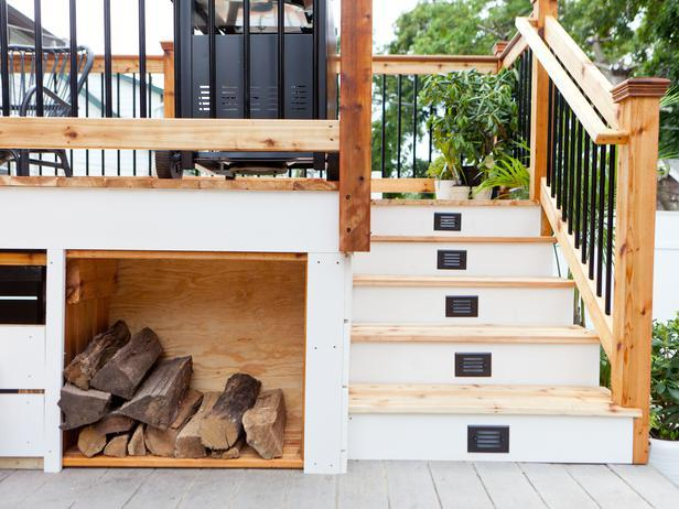 Backyard Deck With Firewood Storage