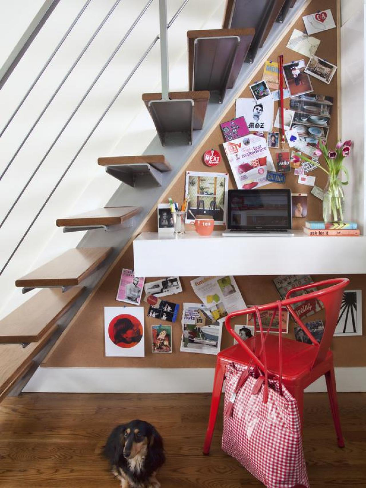 Multipurpose storage space under the stairs