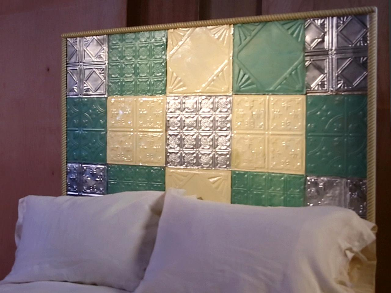 How to use tin ceiling tiles to make a country style headboard make a quilted headboard with tin tiles dailygadgetfo Images