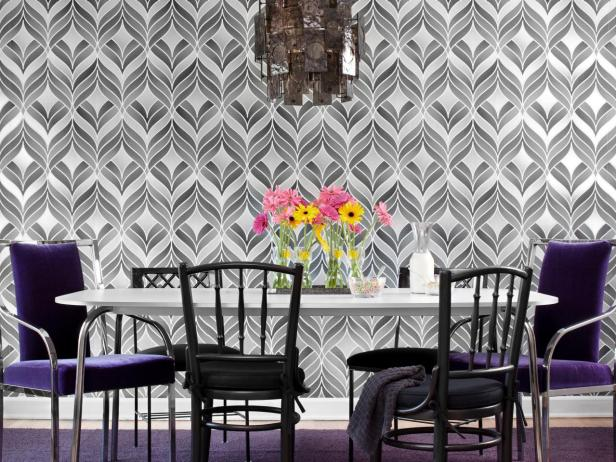 Dining Room With Geometric Wallpaper