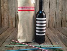 Make your own canvas wine bottle gift bag that doubles as a craft supply tote.