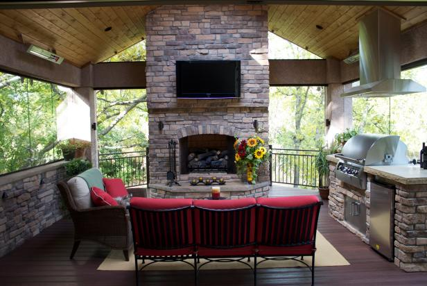 Stone Fireplace With Outdoor Kitchen