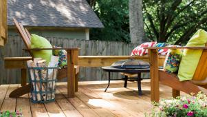 Backyard Deck with Adirondack Chairs