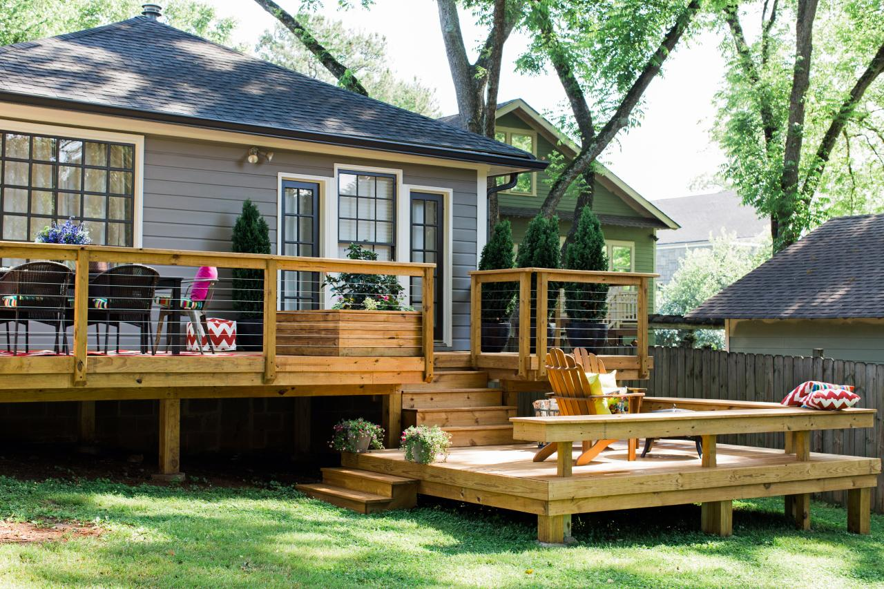 Determining the size and layout of a deck how tos diy for Patio decks for sale