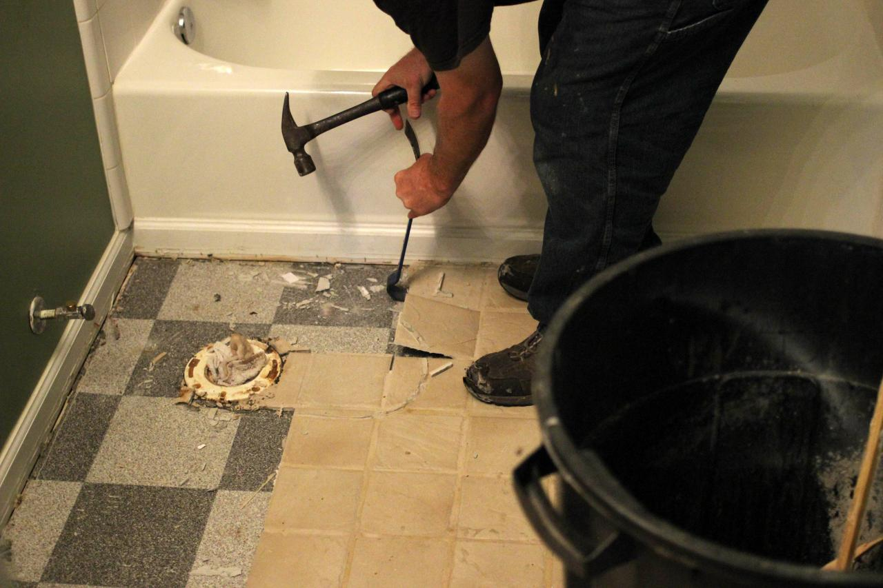 How To Remove A Tile Floor Howtos DIY - How to repair bathroom floor tile