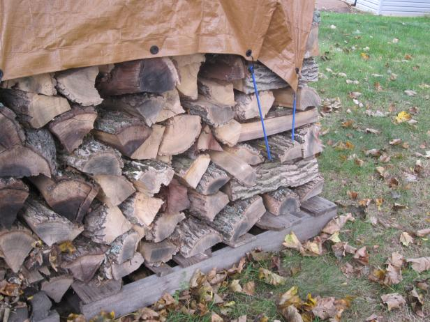 Secure Tarp Over Firewood