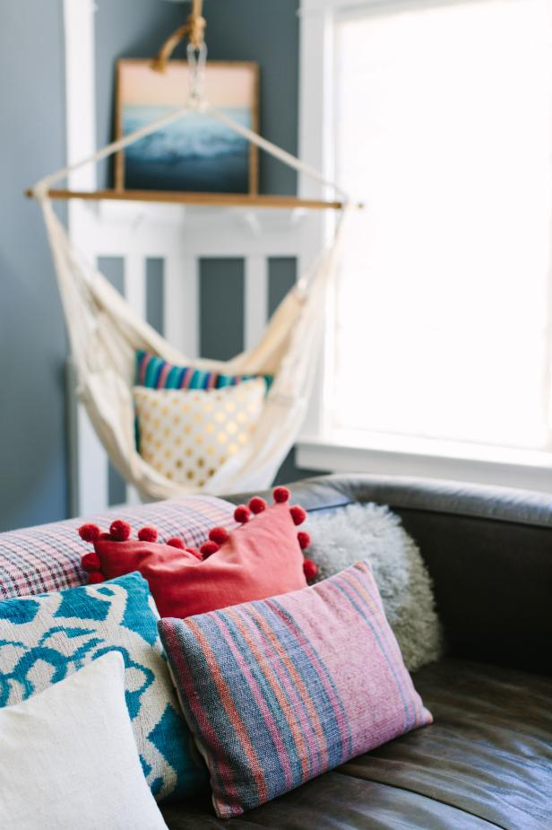 Bright Throw Pillows Add a Colorful Spot to Cozy Sitting Area