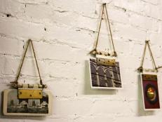 Looking for a new way to display artwork? Upcycle old door hinges into magnetic photo/picture holders.