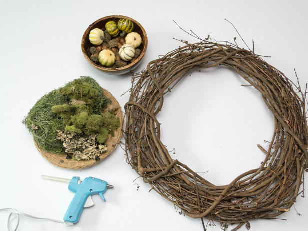 Grapevine Wreath, Moss, and a Bowl of Mini Pumpkins and Acrons