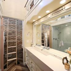 Contemporary Neutral Bathroom with Movabel Rolling Ladder