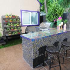 Eclectic Iridescent Outdoor Bar