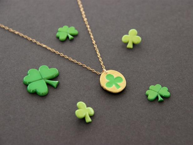 This subtle (and lucky!) necklace is the perfect touch for St. Patrick's Day.