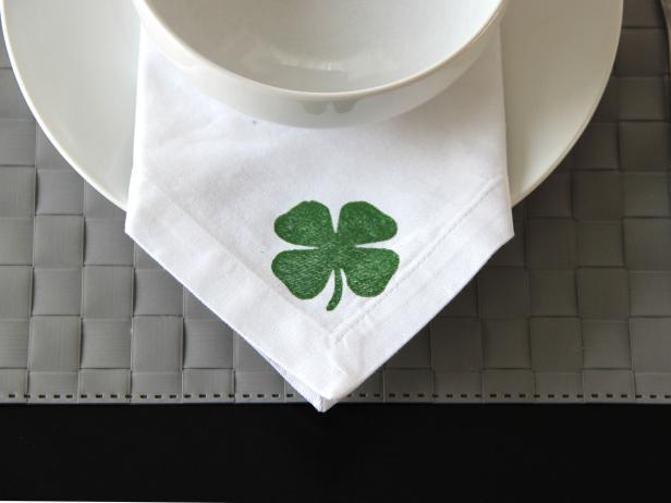 Stamped Napkins for St. Patrick's Day