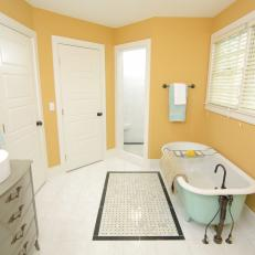 Mellow Yellow and Light Blue Bathroom
