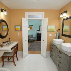 Eclectic Bathroom with Muted Yellow