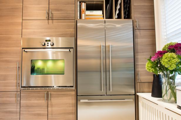Contemporary Neutral Kitchen with Stainless Steel Refrigerator