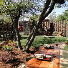 Backyard with Wood Dining Table