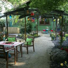 Colorful Backyard with Dining Area