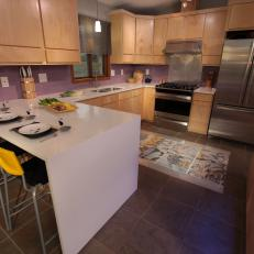 Brown Contemporary with Purple Backsplash
