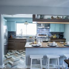 Blue Kitchen with Breakfast Bar