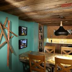 Brown and Blue Rustic Beer Room with Bar