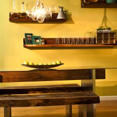 Modern Yellow Kitchen with Black Walnut Benches